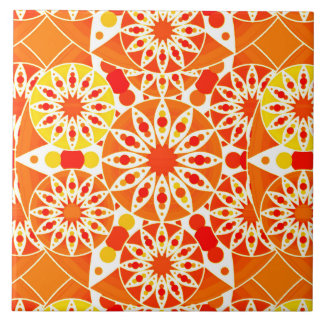 Mandala pattern, Coral Orange and Gold Ceramic Tiles