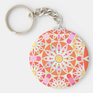 Mandala pattern, coral red, pink, gold key chain
