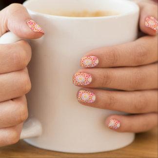 Mandala pattern, coral red, pink, gold minx ® nail wraps