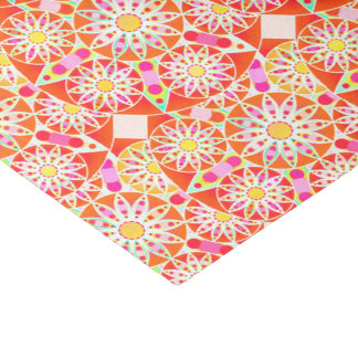 Mandala pattern, coral red, pink, gold tissue paper