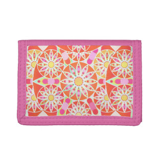 Mandala pattern, coral red, pink, gold trifold wallets