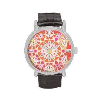 Mandala pattern, coral red, pink, gold wrist watches