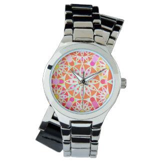 Mandala pattern, coral red, pink, gold wrist watch