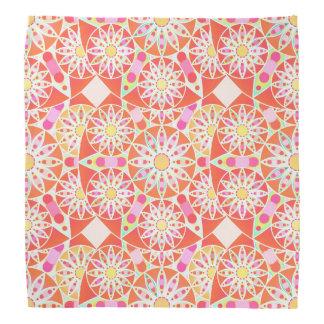 Mandala pattern, coral red, pink, gold bandana
