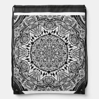 Mandala pattern drawstring bag