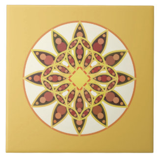 Mandala pattern in chocolate brown and gold tiles