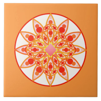 Mandala pattern in coral, orange and gold ceramic tiles