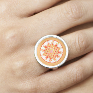Mandala pattern in coral orange and gold photo ring