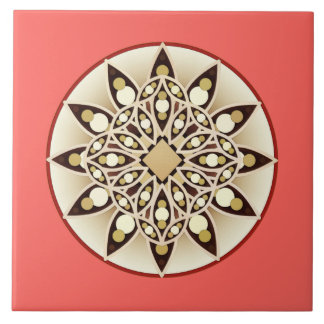 Mandala pattern in coral orange, chocolate and tan ceramic tiles