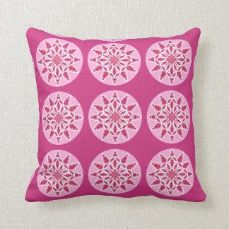 Mandala pattern in pink, fuchsia and white throw pillow