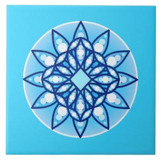 Mandala pattern in sky blue, cobalt & white ceramic tile