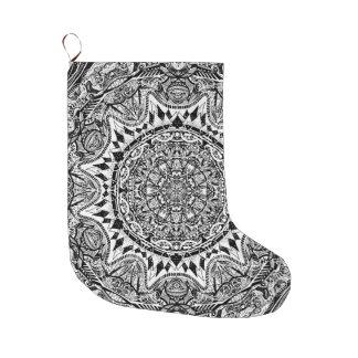 Mandala pattern large christmas stocking