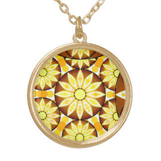 Mandala pattern, shades of brown and gold gold plated necklace