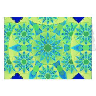 Mandala pattern, turquoise, blue, lime green card