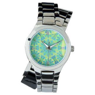 Mandala pattern, turquoise, blue, lime green watch