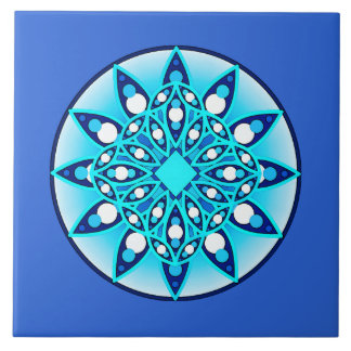 Mandala pattern, turquoise, cobalt blue and white ceramic tiles