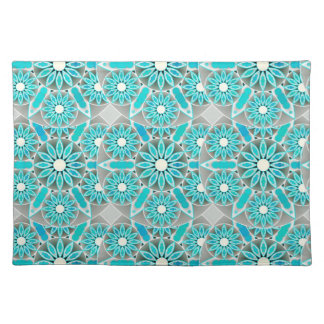 Mandala pattern, turquoise, silver grey and white placemat