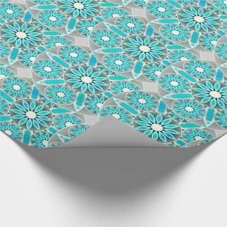 Mandala pattern, turquoise, silver grey and white wrapping paper