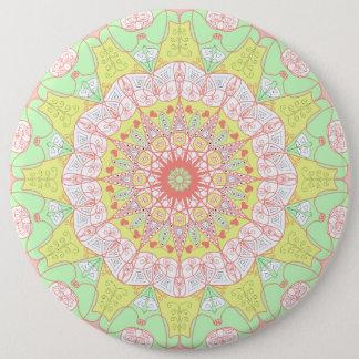 Mandala pattern yoga multi color circle floral 6 inch round button