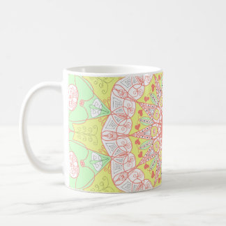 Mandala pattern yoga multi color circle floral coffee mug