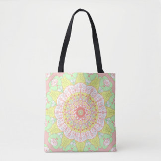 Mandala pattern yoga multi color floral tote bag