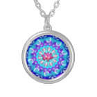 Mandala Pink Lotus Silver Plated Necklace