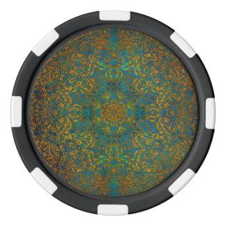 mandala poker chip set