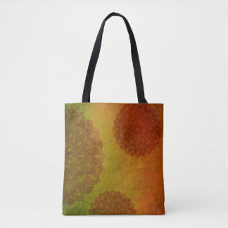 Mandala Print Tote in Orange Rust Lime Student Bag