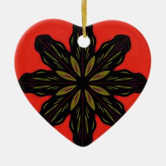 Mandala RED BLACK Ceramic Ornament
