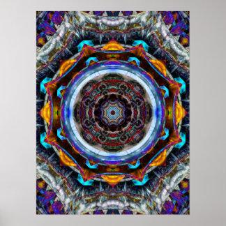 Mandala réfléchi de fractale affiche