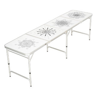 Mandala. Round black and white oriental pattern. Beer Pong Table
