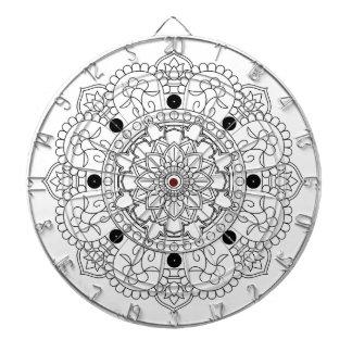 Mandala. Round black and white oriental pattern Dartboard