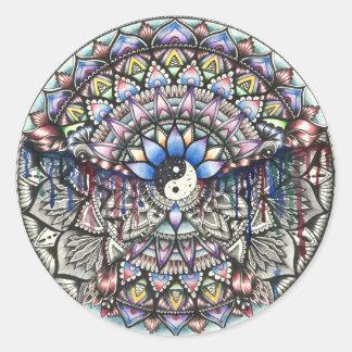 Mandala run print round sticker