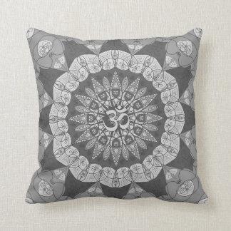 Mandala shades of gray yoga namaste floral pillow