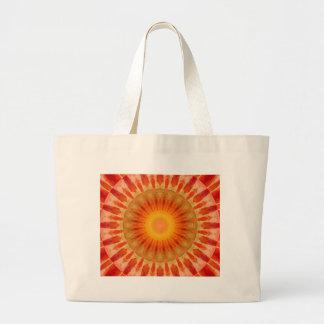 Mandala sunset large tote bag
