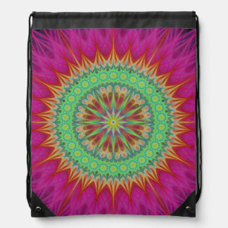 Mandala symbol drawstring bag