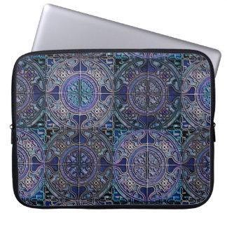 MANDALA TILES CHECKERBOARD 3D delft blue Laptop Sleeve