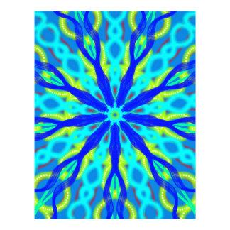 Mandala With Blue Aqua And Yellow Letterhead Template