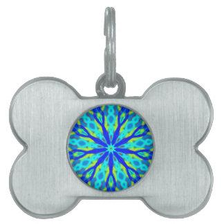 Mandala With Blue Aqua And Yellow Pet ID Tag