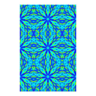 Mandala With Blue Aqua And Yellow - Tiled Personalized Stationery