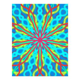 Mandala With Red Aqua And Yellow Customized Letterhead