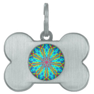 Mandala With Red Aqua And Yellow Pet Tag