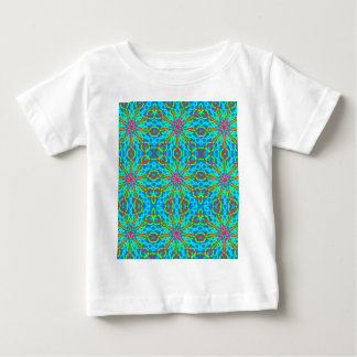 Mandala With Red Aqua And Yellow - Tiled Baby T-Shirt