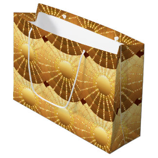 Mandala with Stars - golden satin gradient Large Gift Bag