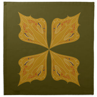 Mandalas gold on olive napkin
