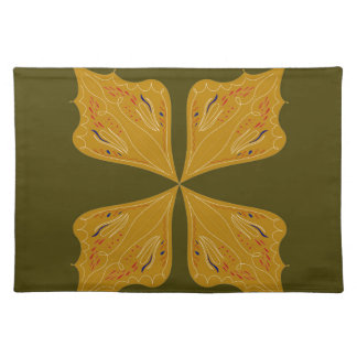 Mandalas gold on olive placemat