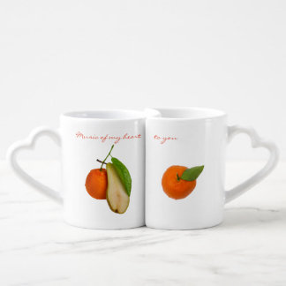 Mandarin couple and pear as a contrabass coffee mug set