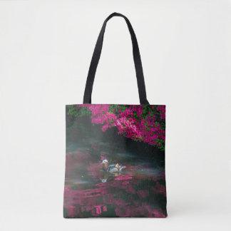 Mandarin duck all-over-print tote bag