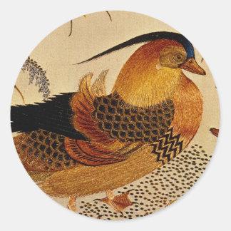 Mandarin Duck Round Stickers