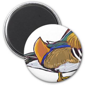 Mandarin Duck Sketch 2 Inch Round Magnet